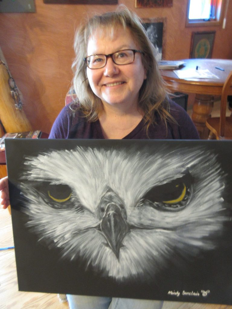 Mindy Sinclair with Painting