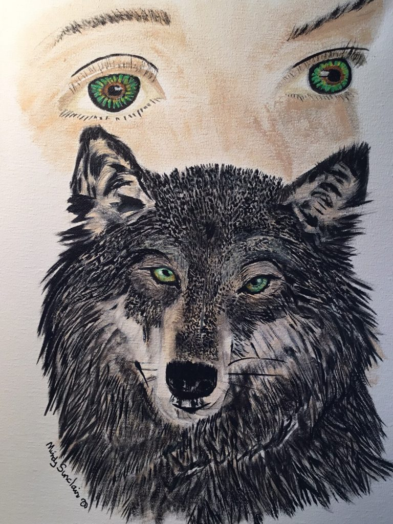 Mindy Sinclair Wolf Painting