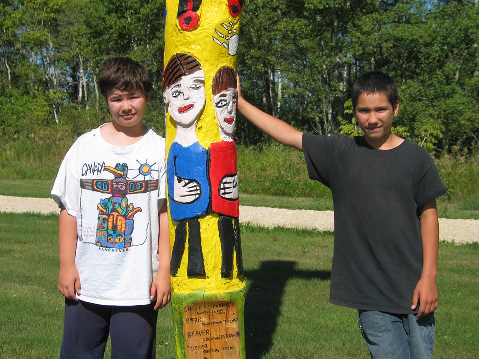 Mindy Sinclair Twin Boys with Totem Pole